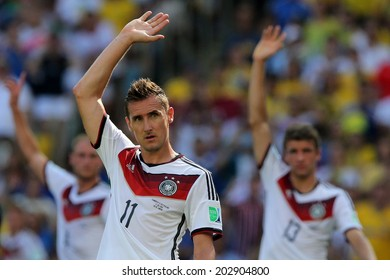 RIO DE JANEIRO, BRAZIL - JULY 04, 2014: Miroslav Klose of Germany celebrates during the World Cup Quarter-finals game between France and Germany in the Estadio Maracana. NO USE IN BRAZIL.