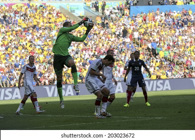RIO DE JANEIRO, BRAZIL - July 04, 2014: Goal Keeper Manuel NEUER of Germany kicks the ball during the 2014 World Cup round of 8 game between France and Germany at Maracana Stadium.