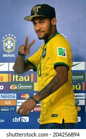 RIO DE JANEIRO, BRAZIL - July 10, 2014: Neymar first time appearance after injury, in a press conference at Granja Comary in Teresopolis. NO USE IN BRAZIL.