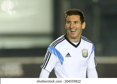 RIO DE JANEIRO, BRAZIL - JULY 12, 2014: Lionel Messi of Argentina during a training session in the San Januario stadium a day ahead of the World Cup final. NO USE IN BRAZIL.