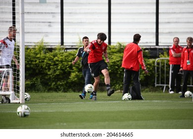 Rio de Janeiro, BRAZIL -July 12, 2014: Germany national football team practicing at S�£o January  training center in preparation for the 2014 World Cup soccer tournament. No Use in Brazil