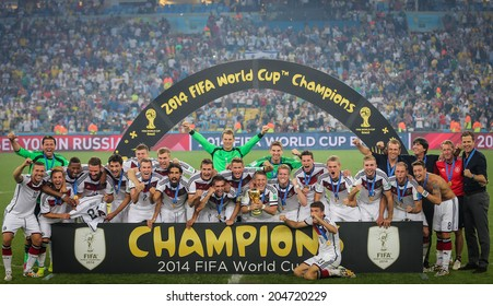 RIO DE JANEIRO, BRAZIL - July 13, 2014: Players of Germany celebrate after winning the 2014 World Cup Final at Maracana Stadium. Germany are the Champions of The World. NO USE IN BRAZIL.