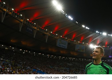RIO DE JANEIRO, BRAZIL - July 13, 2014: Goalkeeper Manuel Neuer celebrates after Germany defeated Argentina in the 2014 World Cup Final at Maracana Stadium. NO USE IN BRAZIL.