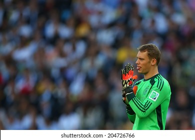 RIO DE JANEIRO, BRAZIL - July 13, 2014: Goalkeeper Manuel Nauer of Germany  during the 2014 World Cup Final game between Argentina and Germany at Maracana Stadium. NO USE IN BRAZIL.