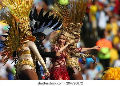 RIO DE JANEIRO, BRAZIL - July 13, 2014: Colombian Singer Shakira performing during the closing ceremony of the 2014 FIFA World Cup at Maracana Stadium. NO USE IN BRAZIL.