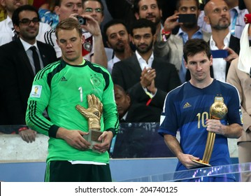 RIO DE JANEIRO, BRAZIL - July 13, 2014:  Manuel Neuer and Lionel Messi for the ball during the World Cup Final game between Argentina and Germany at Maracana Stadium. NO USE IN BRAZIL
