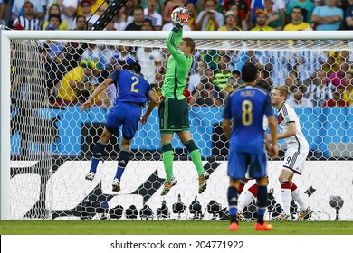 RIO DE JANEIRO, BRAZIL - July 13, 2014: Neuer of Germany during the 2014 World Cup Final game between Argentina and Germany at Maracana Stadium. NO USE IN BRAZIL.