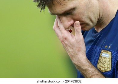 RIO DE JANEIRO, BRAZIL - July 13, 2014: Messi of Argentina after the 2014 World Cup Final game between Argentina and Germany at Maracana Stadium. NO USE IN BRAZIL.