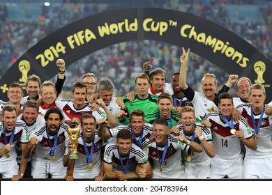 RIO DE JANEIRO, BRAZIL - July 13, 2014: Team Germany posing for a photo with the Trophy after winning the 2014 World Cup Final game between Argentina and Germany at Maracana Stadium. NO USE IN BRAZIL.