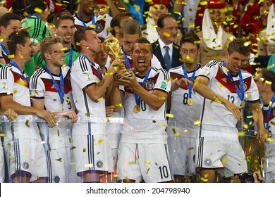 RIO DE JANEIRO, BRAZIL - July 13, 2014: Players of Germany celebrate with the Trophy after winning the 2014 World Cup Final game between Germany and Argentina at Maracana Stadium. NO USE IN BRAZIL.