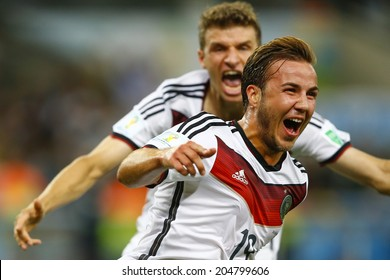 RIO DE JANEIRO, BRAZIL - July 13, 2014: Gotze of Germany celebrates his score during the 2014 World Cup Final game between Germany and Argentina at Maracana Stadium. NO USE IN BRAZIL.