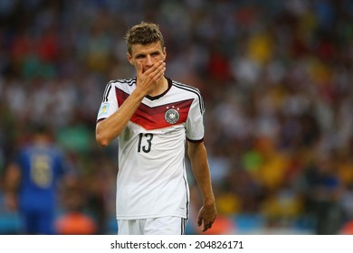 RIO DE JANEIRO, BRAZIL - July 13, 2014: Muller of Germany during the 2014 World Cup Final game between Argentina and Germany at Maracana Stadium. NO USE IN BRAZIL.