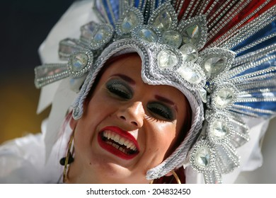 RIO DE JANEIRO, BRAZIL - July 13, 2014: An artist performs during the closing ceremony ahead the 2014 World Cup Final game between Argentina and Germany at Maracana Stadium. NO USE IN BRAZIL.