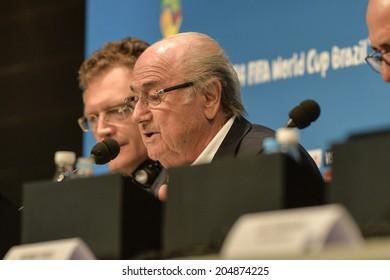 RIO DE JANEIRO, BRAZIL - July 14, 2014: Joseph S. Blatter,  during Press conference on the final balance of the 2014 World Cup at Maracana Stadium.