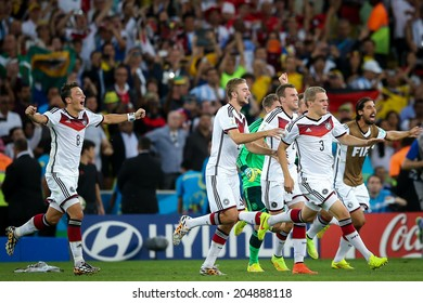 RIO DE JANEIRO, BRAZIL - July 13, 2014: Germany celebrate after defeating Argentina 1x0 during the 2014 FIFA World Cup Final match between Germany and Argentina at Maracana Stadium. NO USE IN BRAZIL.
