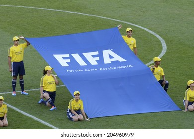 RIO DE JANEIRO, BRAZIL - July 13, 2014: Flag Fair play during the World Cup Final game between Argentina and Germany at Maracana Stadium