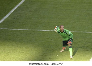 RIO DE JANEIRO, BRAZIL - July 13, 2014: Manuel NEUER of Germany kicks the ball during the 2014 World Cup Final game between Argentina and Germany at Maracana Stadium.