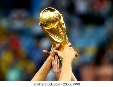 RIO DE JANEIRO, BRAZIL - July 13, 2014: The World Cup Trophy during the celebrations after the 2014 World Cup final game between Germany and Argentina at Maracana Stadium.