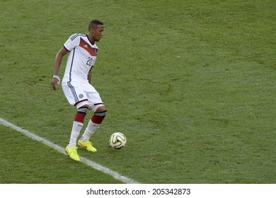 RIO DE JANEIRO, BRAZIL - July 13, 2014: Jerome BOATENG of Germany kicks the ball during the 2014 World Cup Final game between Argentina and Germany at Maracana Stadium.