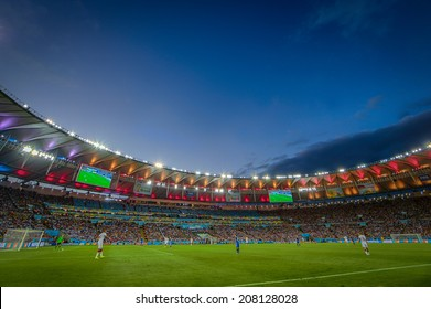 RIO DE JANEIRO, BRAZIL - July 13, 2014: World Cup Final game between Argentina and Germany at Maracana Stadium. NO USE IN BRAZIL.