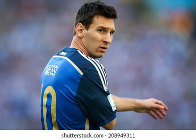 RIO DE JANEIRO, BRAZIL - July 13, 2014: Messi of Argentina during the World Cup Final game between Argentina and Germany at Maracana Stadium. NO USE IN BRAZIL.