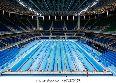 Rio de Janeiro, Brazil - July 31, 2016. Swimming training at Olympic Aquatic Stadium in Barra Olympic Park prior the start of the Olympic Games in Rio de Janeiro.