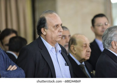 Rio de Janeiro, Brazil - july 31, 2016:  Governor of the State of Rio de Janeiro Fernando Pezão during a briefing on the performance of the Armed Forces of the State of Rio de Janeiro