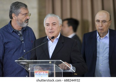 Rio de Janeiro, Brazil - july 31, 2016:  President Michel Temer during a briefing on the performance of the Armed Forces of the State of Rio de Janeiro