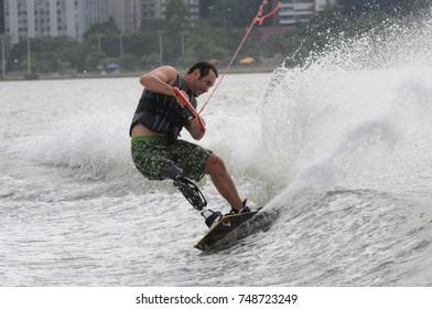 Rio de Janeiro - Brazil July 10, 2016 - Paralympico athlete trains Wakeboard at the Rodrigues de Freitas lagoon in the South Zone of the city of Rio de Janeiro