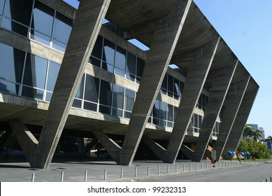 RIO DE JANEIRO, BRAZIL - JULY 17:  An exterior of the Museum of Modern Art is shown July 17, 2005 in Rio de Janeiro, Brazil. Founded in 1948, the museum was designed by architect Affonso Reidy.