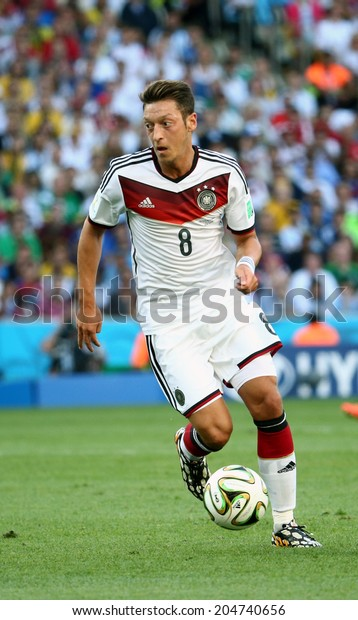 RIO DE JANEIRO, BRAZIL - July 13, 2014: Mesut Ozil at the 2014 World Cup Final game between Argentina and Germany at Maracana Stadium. NO USE IN BRAZIL