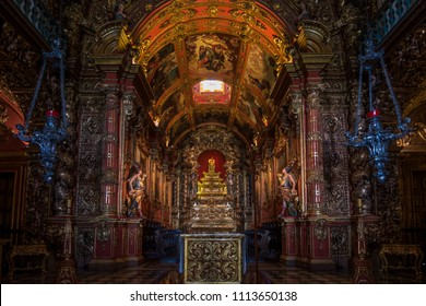 Rio de Janeiro, Brazil, June 2018 - view of the main altar of Igreja Nossa Senhora de Montserrat, a beautiful church located at Mosteiro de São Bento, one of the oldest monasteries in Rio de Janeiro