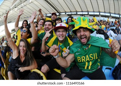 Rio de Janeiro, Brazil, June 17, 2018. Brazilian fans during the game Brazil X Switzerland for the 2018 World Cup in the Maracanã stadium in the city of Rio de Janeiro.