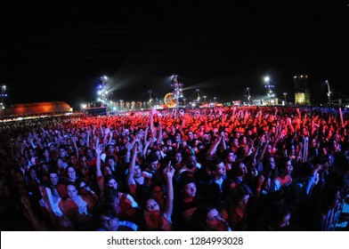 Rio de Janeiro - Brazil June 10, 2011 Young people dancing at Rock in Rio, the biggest music festival in Latin America
