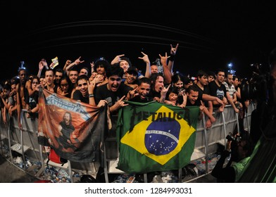 Rio de Janeiro - Brazil June 10, 2011 Young people dancing at Rock in Rio, the biggest music festival in Latin America