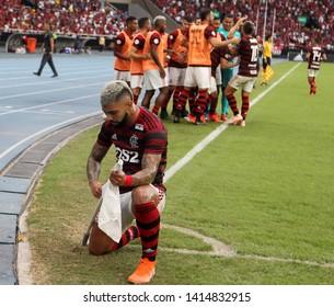 Rio de Janeiro, Brazil, June  01, 2019. Football player, Gabigol  of the Flamengo team, during the Flamengo vs. Fortaleza   match for the National championship at the Engenhão stadium