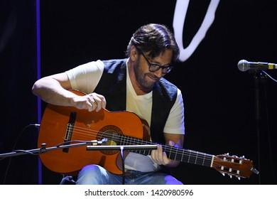 Rio de Janeiro, Brazil, June 6, 2019. American guitarist Al Di Meola during his concert at the Rio Montreux Jazz Festival at Pier Mauá in the city of Rio de Janeiro.