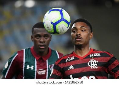 Rio de Janeiro, Brazil, June 9, 2019. Football player Vitinho of the Flamengo team during the game Fluminense vs Flamengo for the Brazilian championship in the Maracanã stadium.
