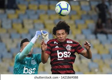 Rio de Janeiro, Brazil, June 9, 2019. Football player Willian Arão of the Flamengo team during the match Fluminense vs Flamengo for the Brazilian championship in the Maracanã stadium.