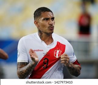 RIO DE JANEIRO, BRAZIL - June 18, 2019:Paolo Guerrero  of Peru kicks the ball during the 2019 Copa America Group A game between Bolivia and Peru at  Maracana Stadium.