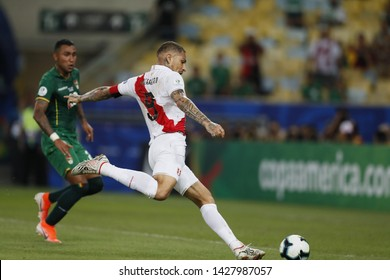 RIO DE JANEIRO, BRAZIL - June 18, 2019: Paolo Guerrero of Peru kicks the ball during the 2019 Copa America Group A game between Bolivia and Peru at  Maracana Stadium.