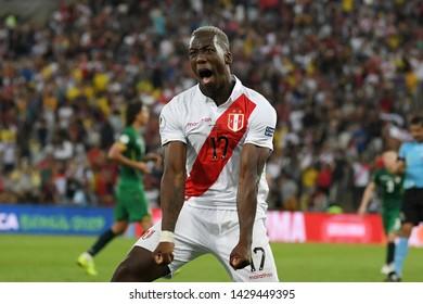 Rio de Janeiro, Brazil, June 18, 2019. Player Advincula Castrillon player of the Peruvian soccer team Peru during the game Bolivia vs Peru for the Copa America 2019 in the stadium of the Maracanã.