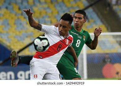 Rio de Janeiro, Brazil, June 18, 2019. Soccer player Cueva Bravo of the soccer team Peru during the game Bolivia vs Peru for the Copa America 2019 in the stadium of the Maracanã.