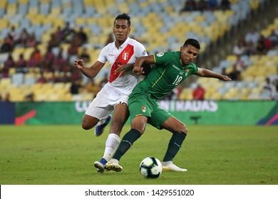 Rio de Janeiro, Brazil, June 18, 2019. Soccer player Alvarez Vargas of the soccer team Bolivia during the game Bolivia vs Peru for the Copa America 2019 in the stadium of the Maracanã.