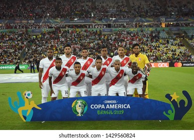 Rio de Janeiro, Brazil, June 18, 2019. Soccer players from the Peruvian team during the match between Bolivia and Peru for the Copa America 2019 at the Maracanã stadium.