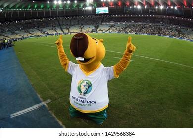Rio de Janeiro, Brazil, June 18, 2019. Mascot of the Copa America 2019 Zizito, before the game Bolivia vs Peru for the Copa America 2019 in the Maracanã stadium.
