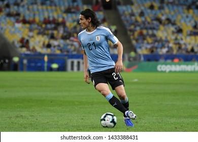 Rio de Janeiro, Brazil, JUNE 24, 2019. Uruguayan soccer player Cavani, during the Chile vs Uruguay game for the Copa América 2019 at the Maracanã stadium.