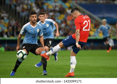 Rio de Janeiro, Brazil, JUNE 24, 2019. Soccer player Opazo Lara of Chile, during the Chile vs Uruguay game for the Copa America 2019 at the Maracanã Stadium.