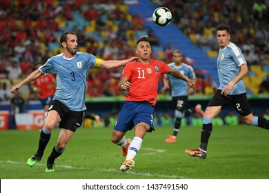 Rio de Janeiro, Brazil, JUNE 24, 2019. Soccer player Vargas of Chile, during the match Chile x Uruguay for Copa America 2019 in the stadium of Maracanã.