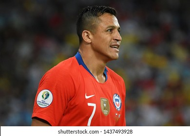 Rio de Janeiro, Brazil, June 24, 2019. Soccer Player Alexis Sanchez  of Chile, during the game Chile x Uruguay for the Copa America 2019 in the stadium of the Maracanã.